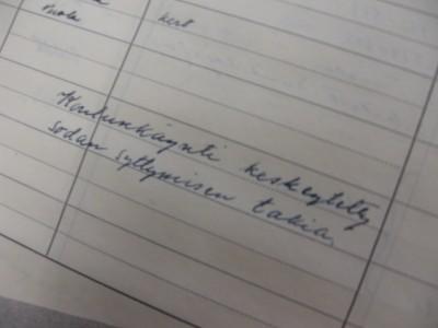 Raahen yhteislyseon opettajan päiväkirjasta