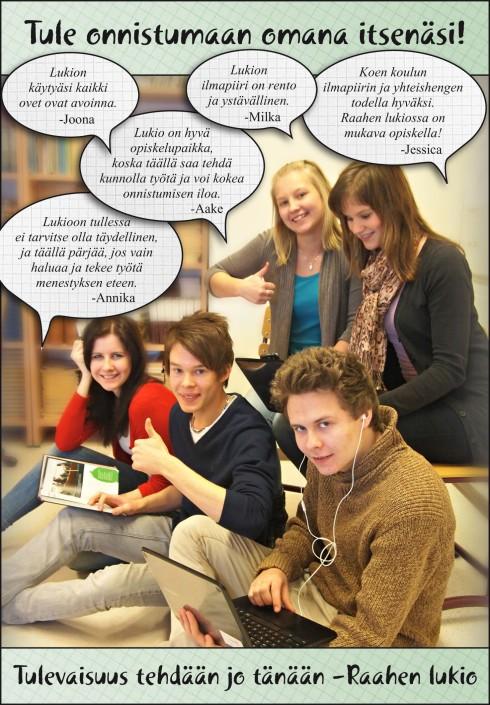 Raahen lukion mainos keväällä 2013