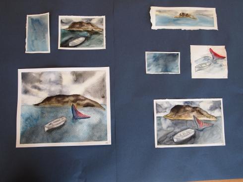 Meerin taitavissa akvarelleissa on kuvattu maisema.