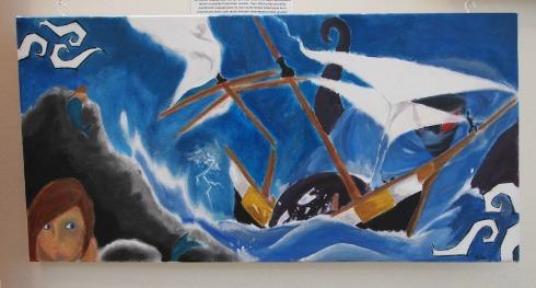 Sakun akryylimaalausta on jatkettu öljyvärein.