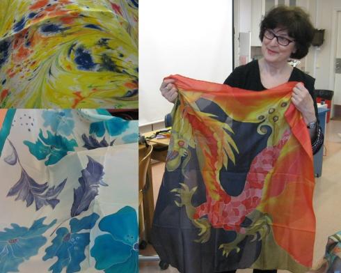 Silkkimaalaus vei mennessään, sanoo Inge ja pitelee käsissään ensimmäistä maalaamaansa silkkihuivia vuosien takaa.