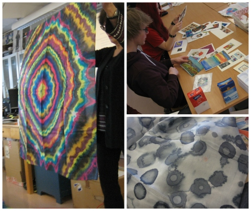 Silkkimaalaukseen käytettäviä tekniikoita voi yhdistellä. Inge on tehnyt runsaasti myös eri juhla-aikoihin liittyviä kortteja.
