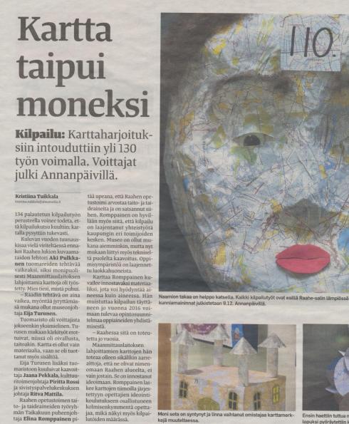 Paikallislehti Raahen Seutu uutisoi karttakilpailun etenemisestä.