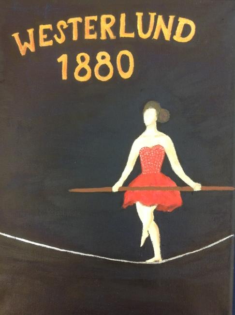 Westerlundin veljekset esiintyivät aikoinaan Raahessa. Miljan siro nuorallatanssija on kuvattu julisteeseen.